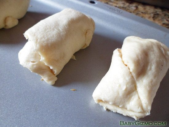 Peanut Butter and Chocolate Croissants rolled up