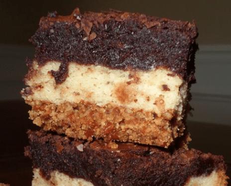 Ultimate Pretzel Crusted Sugar Cookie Heath Brownie Bars