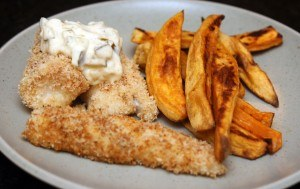 Baked fish n' sweet potato chips