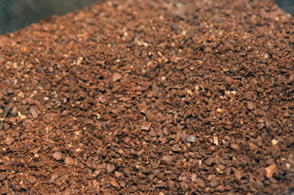 Coarsely ground coffee beans