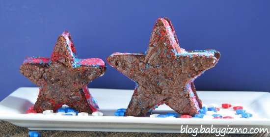 star ice cream sandwiches standing on a plate