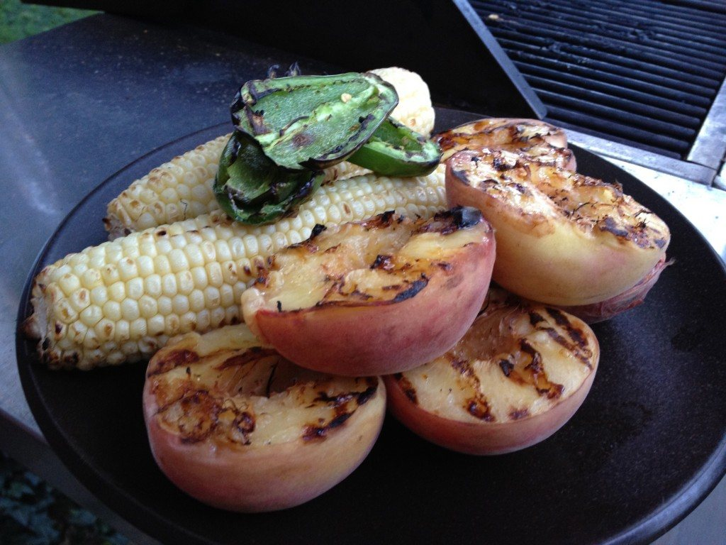 Grilled peaches, corn and jalapeños
