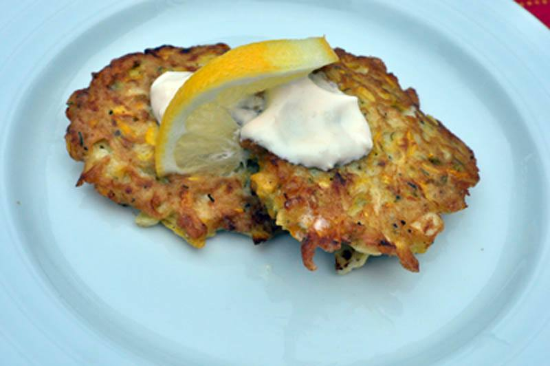 Summer Squash, Corn and Cheddar Fritters