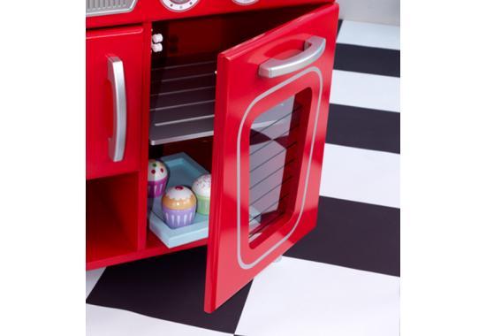 red retro play kitchen