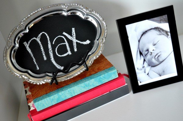 silver tray painted with chalkboard paint