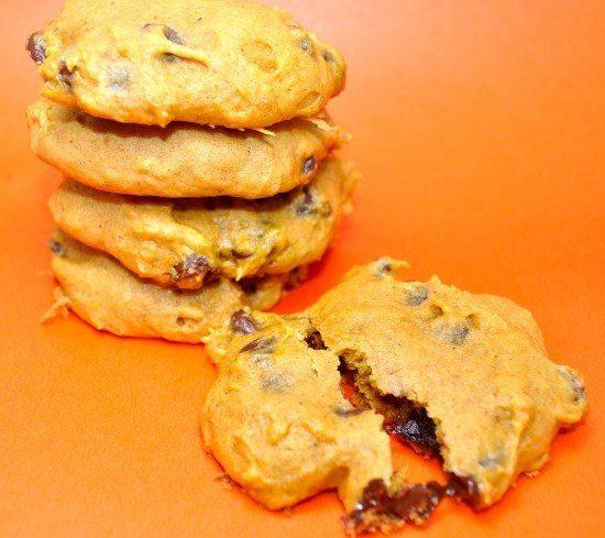 stack of pumpkin chocolate chip cookies