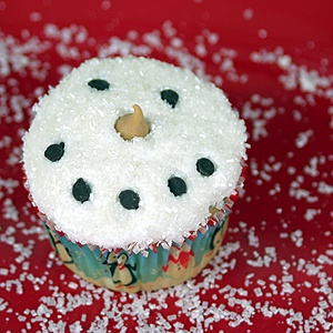 Snowman Cupcake on red background