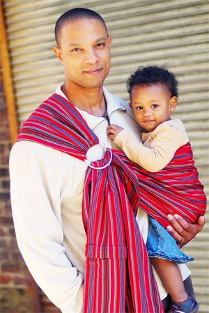 BrightStripe Dad Babywearing With A Maya Wrap
