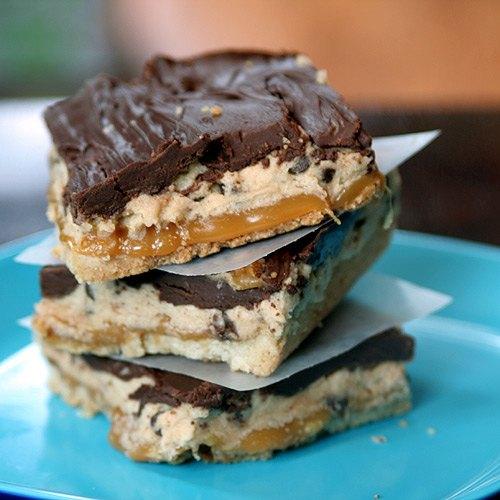 Chocolate Chip Cookie Dough Billionaire Bars
