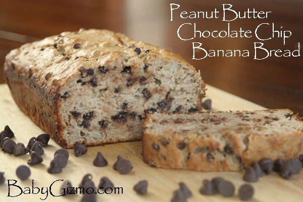 Peanut Butter Chocolate Chip Banana Bread with one slice