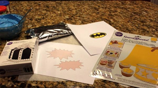 ingredients to make a batman cake