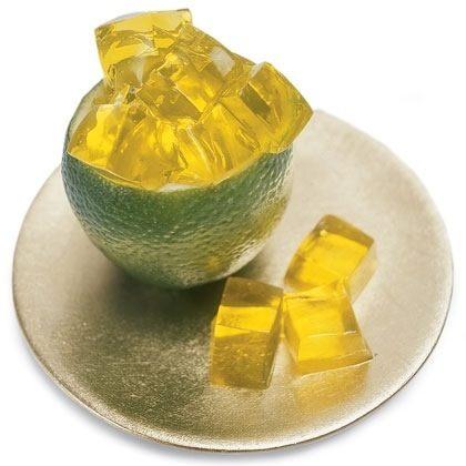 yellow jello in green bowl