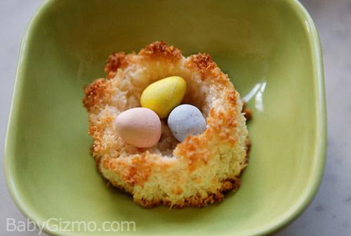 Coconut Macaroon Spring Bird Nest Cookies