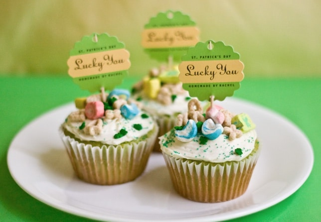 lucky charm cupcakes on white plate