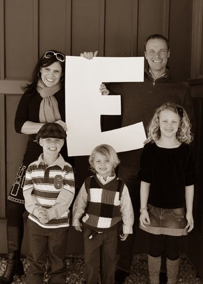 family photo holding an e