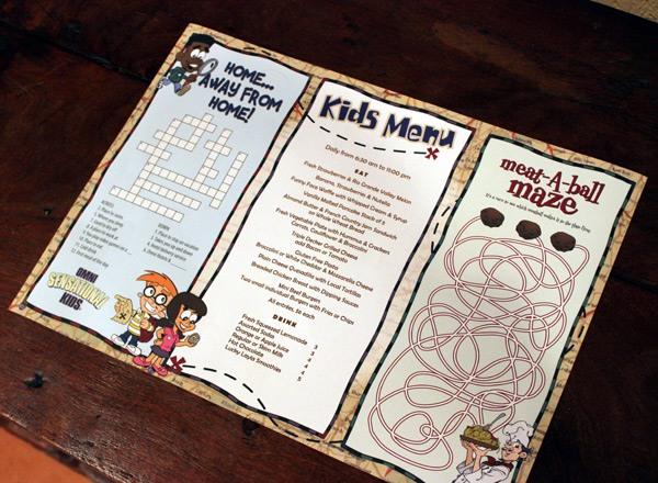 La Mansion Del Rio kids' menu
