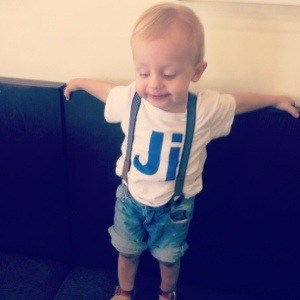 toddler with suspenders