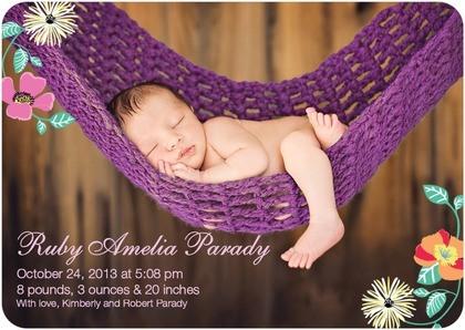 baby in purple hammock announcement