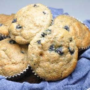 Whole Wheat Blueberry Banana Muffins