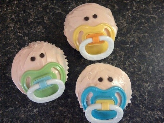 baby cupcakes with pacifiers