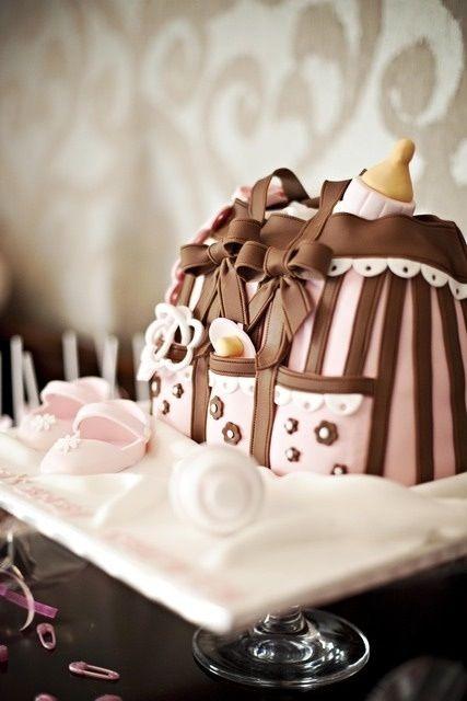 baby shower cake that looks like diaper bag