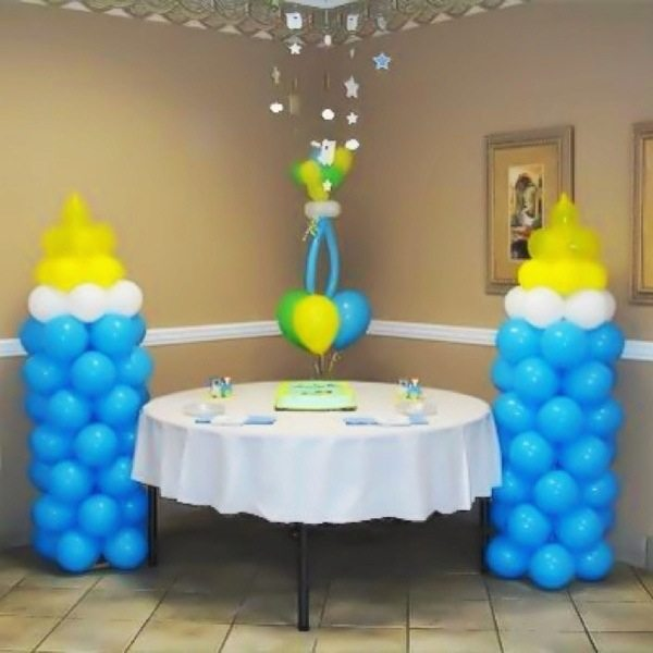 bottles with balloon at shower
