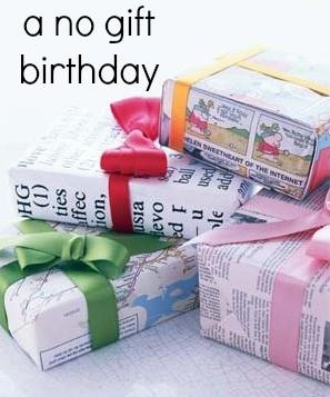 a no gift birthday