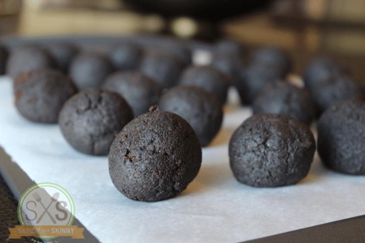 cake balls on a baking sheet
