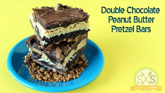 Peanut Butter Pretzel Bars on blue plate