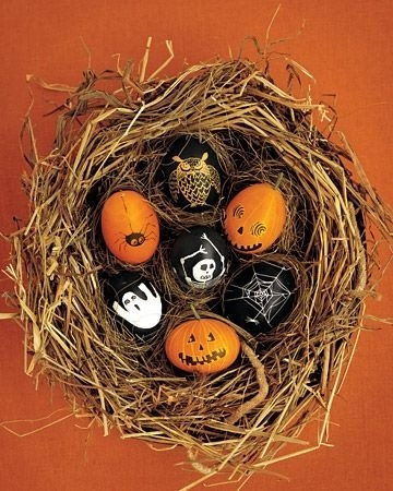 halloween eggs in  nest basket