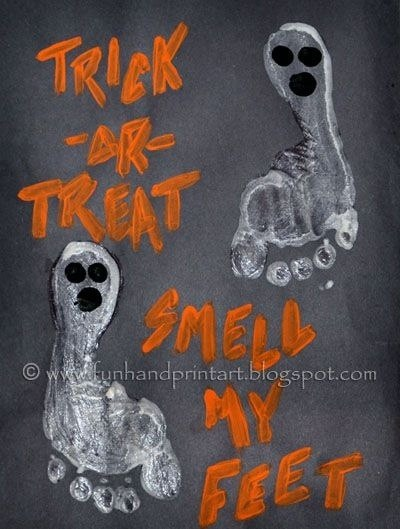 footprint art with trick or treat