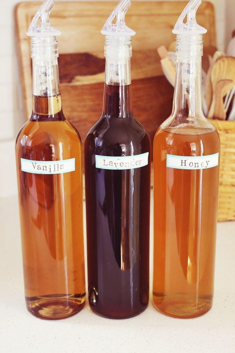 three bottles of coffee syrups