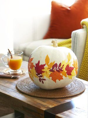 1011 paper leaves on white pumpkin mdn DIY Thanksgiving Decor Ideas