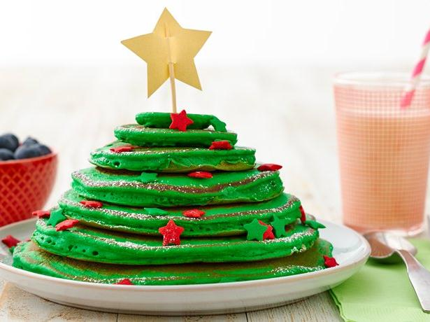 christmas pancakes in a stack