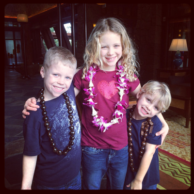 three kids at Disney Aulani