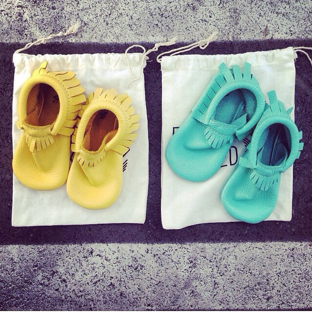 yellow and blue moccasins