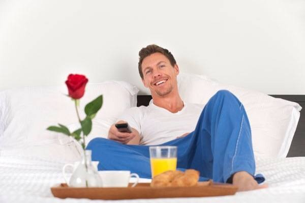 dad with breakfast in bed
