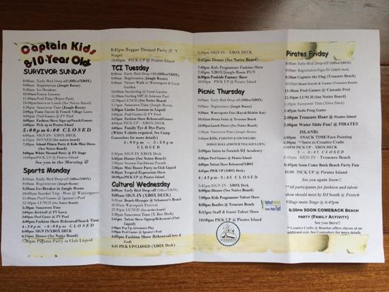 kids camp menu
