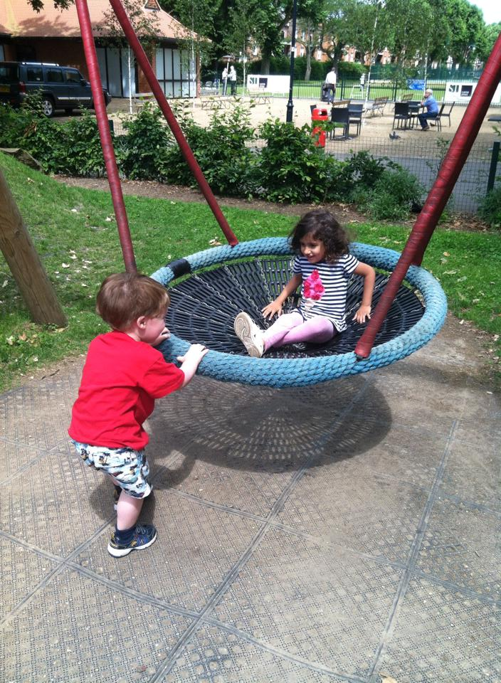 My daughter enjoyed being pushed on this swing by her friend!