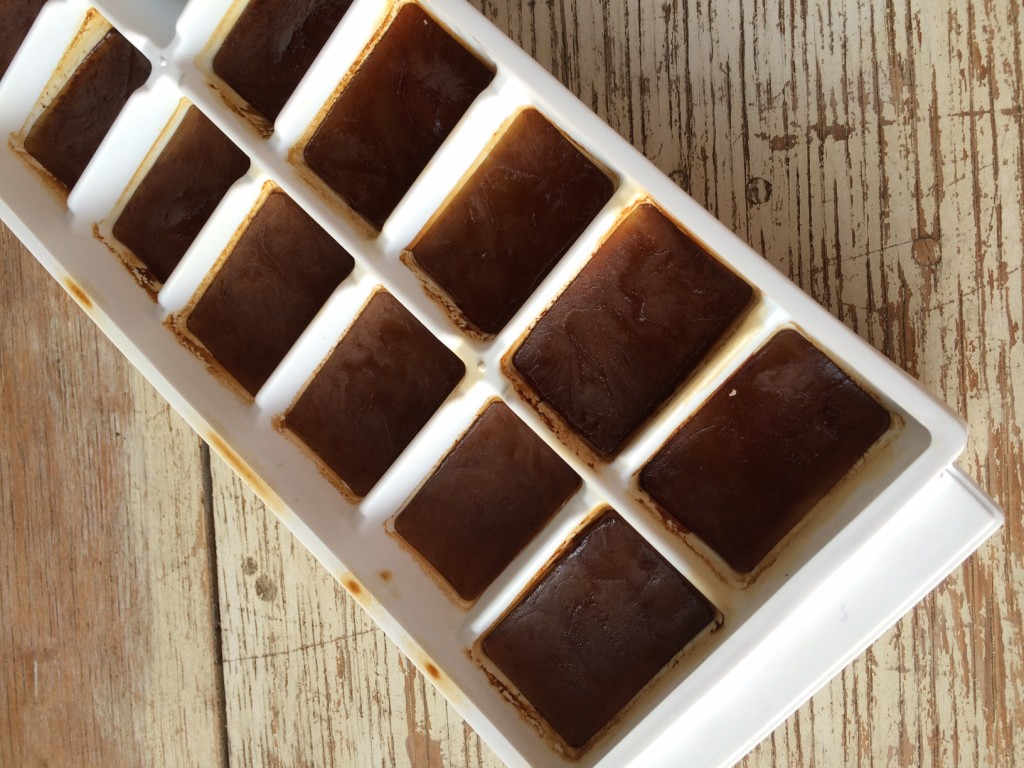 coffee in ice cube tray