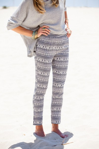 grey top and patterned leggings