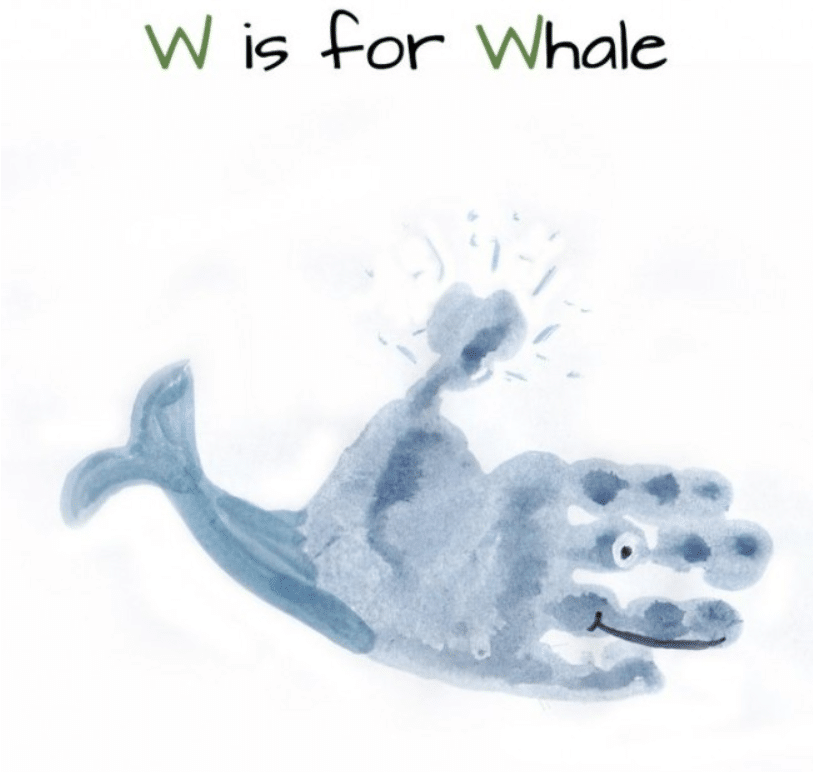 whale handprint project for kids