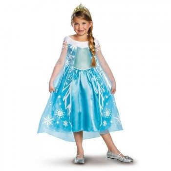 young girl in Elsa dress