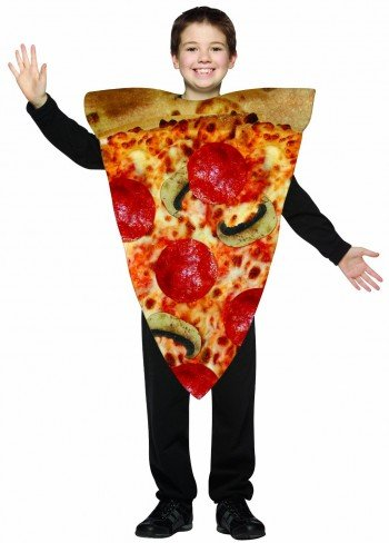 young boy in pizza costume