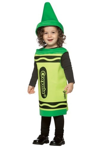 toddler girl dressed as a green crayon