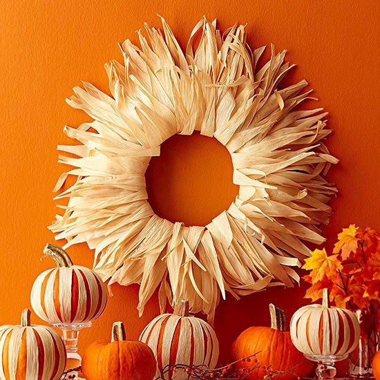 thanksgiving wreath on orange wall