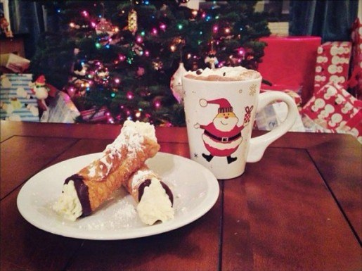 canolli and hot cocoa by christmas tree