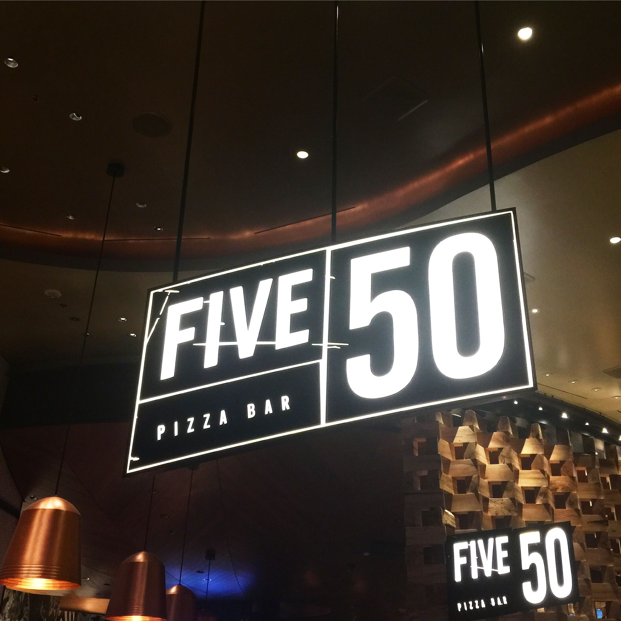 five 50 pizza bar sign