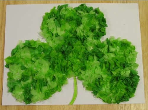 St. Patrick's Day Crafts: Tissue Paper Clover