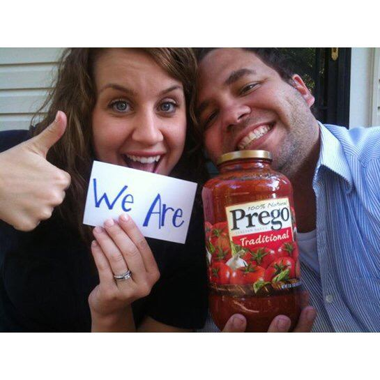 baby announcement with prego